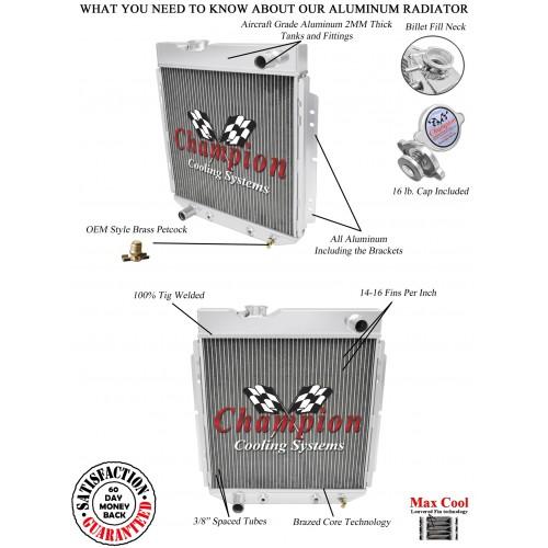 1965-1966 ford mustang aluminum radiator