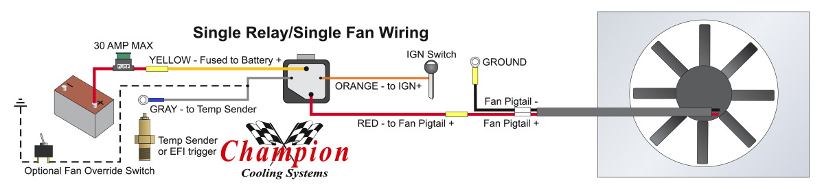 how to properly wire electric cooling fans rh shop championcooling com radiator fan wiring orange wire vs red wire radiator fan wiring orange wire vs red wire