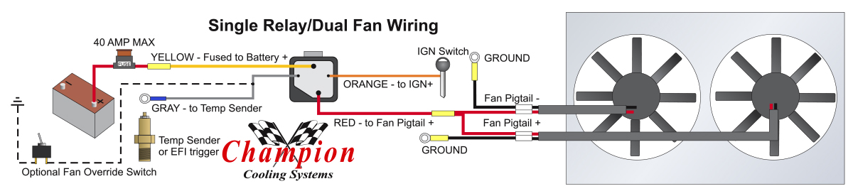 How To Properly Wire Electric Cooling Fans Single And Dual Cooling Fan Wiring Diagram on light switch outlet wiring diagram, 3 speed fan switch diagram, dual electric fan relay kit, electrical relay wiring diagram, radiator fan relay diagram, dual switch light wiring, street rod fuel pump wiring diagram, hvac fan control relay diagram, dual electric switch wiring, electrical switch wiring diagram,